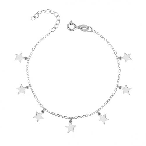 Srebrna bransoletka księżyce i gwiazdki